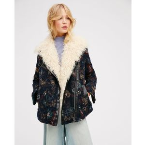 New Free People Jacquard Wool Coat With Faux Fur